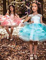 cheap -Princess Dress Flower Girl Dress Girls' Movie Cosplay A-Line Slip Cosplay Blue / Pink Dress Halloween Carnival Masquerade Tulle Polyester
