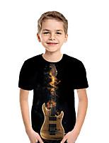 cheap -Kids Boys' Active Street chic Geometric 3D Patchwork Print Short Sleeve Tee Black