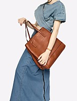 cheap -Women's PU Top Handle Bag Solid Color Brown / Black