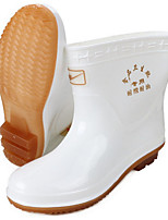 cheap -Women's Boots Flat Heel Round Toe PVC Mid-Calf Boots Spring & Summer / Fall & Winter White