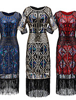 cheap -The Great Gatsby Vintage 1920s Flapper Dress Dress Party Costume Women's Sequin Costume Black+Golden / Red / Blue Vintage Cosplay Party Half Sleeve