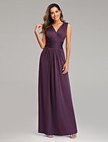 cheap -A-Line V Neck Floor Length Chiffon / Satin Minimalist / Purple Formal Evening / Wedding Guest Dress with Pleats 2020