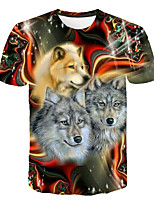 cheap -Kids Boys' Basic Street chic Wolf Color Block 3D Animal Print Short Sleeve Tee Rainbow