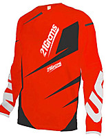 cheap -21Grams Men's Long Sleeve Cycling Jersey Downhill Jersey Dirt Bike Jersey 100% Polyester Black / Red Stripes Bike Jersey Top Mountain Bike MTB Road Bike Cycling UV Resistant Breathable Quick Dry