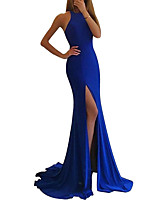 cheap -Mermaid / Trumpet Jewel Neck Sweep / Brush Train Spandex Elegant / Blue Party Wear / Formal Evening Dress with Split 2020