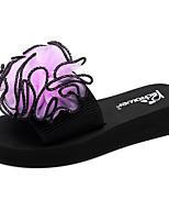 cheap -Women's Slippers & Flip-Flops Flat Heel Open Toe Satin Flower Polyester Classic / Casual Walking Shoes Summer Black / Purple / Red
