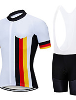cheap -21Grams Men's Short Sleeve Cycling Jersey with Bib Shorts White Germany National Flag Bike Clothing Suit UV Resistant Breathable 3D Pad Quick Dry Sweat-wicking Sports Germany Mountain Bike MTB Road