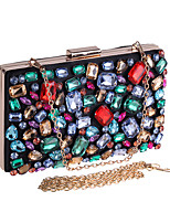cheap -Women's Crystals / Chain Acrylic / Polyester Evening Bag Color Block Rainbow