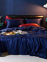 cheap -Duvet Cover Sets 4 Piece Polyester / Viscose Solid Colored Dark Blue Printed Simple