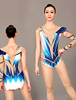 cheap -Rhythmic Gymnastics Leotards Artistic Gymnastics Leotards Women's Girls' Leotard Dark Blue Spandex High Elasticity Handmade Jeweled Diamond Look Long Sleeve Competition Dance Rhythmic Gymnastics