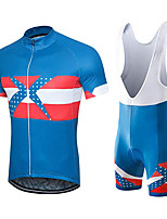 cheap -21Grams Men's Short Sleeve Cycling Jersey with Bib Shorts Blue / White Austria National Flag Bike Clothing Suit UV Resistant Breathable 3D Pad Quick Dry Sweat-wicking Sports Solid Color Mountain Bike