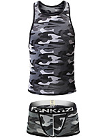 cheap -Men's Print Suits Nightwear Camouflage Blue Green Gray S M L