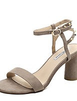 cheap -Women's Sandals Chunky Heel Round Toe Suede Summer Black / Khaki