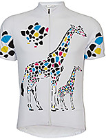 cheap -21Grams Men's Short Sleeve Cycling Jersey 100% Polyester White Yellow Animal Giraffe Bike Jersey Top Mountain Bike MTB Road Bike Cycling UV Resistant Breathable Quick Dry Sports Clothing Apparel