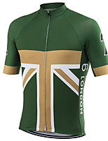 cheap -21Grams Men's Short Sleeve Cycling Jersey 100% Polyester Green / Yellow UK National Flag Bike Jersey Top Mountain Bike MTB Road Bike Cycling UV Resistant Breathable Quick Dry Sports Clothing Apparel