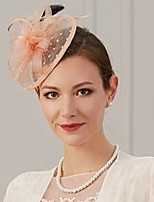 cheap -Feathers / Net Fascinators / Hats / Headwear with Feather / Ruching / Flower 1 Piece Wedding / Special Occasion Headpiece