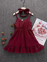 cheap -Kids Girls' Solid Colored Dress Wine