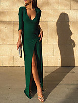 cheap -Sheath / Column V Neck Floor Length Chiffon Sexy / Green Party Wear / Prom Dress with Split 2020