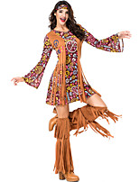 cheap -Hippie Diva Disco 1980s Dress Outfits Headwear Women's Tassel Fringe Costume Burgundy Vintage Cosplay Party Long Sleeve