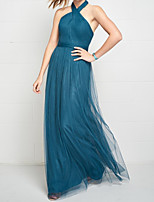 cheap -A-Line Halter Neck Floor Length Tulle Elegant / Blue Wedding Guest / Prom Dress with Criss Cross / Pleats 2020