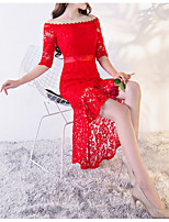 cheap -Sheath / Column Off Shoulder Asymmetrical Lace Sexy / Red Cocktail Party / Wedding Guest Dress with Appliques 2020