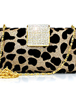 cheap -Women's Crystals / Chain Velvet Evening Bag Animal Black