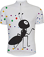 cheap -21Grams Men's Short Sleeve Cycling Jersey 100% Polyester White Dot Animal Bike Jersey Top Mountain Bike MTB Road Bike Cycling UV Resistant Breathable Quick Dry Sports Clothing Apparel / Stretchy