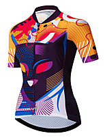 cheap -21Grams Women's Short Sleeve Cycling Jersey 100% Polyester Black / Orange Cat Bike Jersey Top Mountain Bike MTB Road Bike Cycling UV Resistant Breathable Quick Dry Sports Clothing Apparel / Stretchy