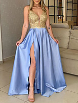 cheap -A-Line V Neck Floor Length Polyester / Charmeuse Gold / Blue Prom / Formal Evening Dress with Sequin / Split 2020