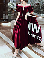 cheap -A-Line Jewel Neck Ankle Length Velvet Hot / Red Engagement / Prom Dress with Beading 2020