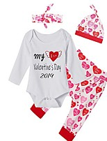 cheap -Baby Girls' Street chic Print Long Sleeve Regular Clothing Set White