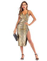cheap -Women's Gold Dress Sexy Sophisticated Party Going out Shift Sheath Solid Color Strap Deep V Basic S M