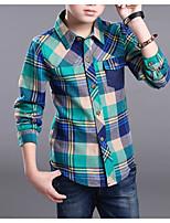 Недорогие -Дети Мальчики Классический Панк & Готика Радужный Длинный рукав Рубашка Зеленый