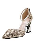 cheap -Women's Sandals Sculptural Heel Pointed Toe PU Summer Black / Champagne / Gold