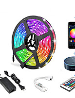 cheap -5m WIFI Set Light Strip  Flexible LED Light Strips  RGB Strip Lights 300 LEDs SMD5050 10mm 1 24Keys Remote Controller  1 X 12V 5A Power Supply 1 set Color-changing IP20  APP Control