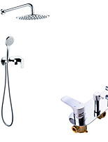 cheap -Shower System Set - Handshower Included Rainfall Shower Contemporary Chrome Wall Mounted Brass Valve Bath Shower Mixer Taps with Brass Shower Head
