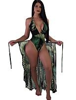 cheap -Women's Green Tankini Swimwear Swimsuit - Floral S M L Green