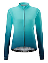 cheap -21Grams Women's Long Sleeve Cycling Jersey 100% Polyester Orange Blue Gradient Bike Jersey Top Mountain Bike MTB Road Bike Cycling UV Resistant Breathable Quick Dry Sports Clothing Apparel / Stretchy