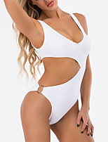 cheap -Women's Fashion Sexy One Piece Swimsuit Cut Out Padded Normal Swimwear Bathing Suits White Black