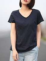cheap -Women's Solid Colored T-shirt - Cotton Daily V Neck White / Black / Blue / Red / Yellow / Navy Blue