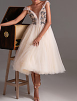 cheap -A-Line V Neck Tea Length Tulle Floral / White Graduation / Cocktail Party Dress with Pleats / Appliques 2020
