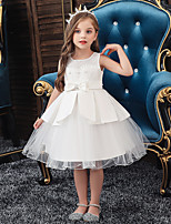cheap -Kids Toddler Girls' Sweet Solid Colored Beaded Lace Trims Sleeveless Knee-length Dress White