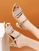 cheap -Women's Sandals Block Heel Open Toe PU Summer Gold / Black / Silver