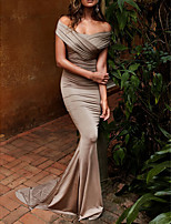 cheap -Mermaid / Trumpet Elegant Sexy Engagement Formal Evening Dress Off Shoulder Short Sleeve Sweep / Brush Train Satin with Ruched Draping 2020