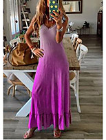 cheap -Women's T Shirt Dress - Rainbow Maxi Purple Light Blue S M L XL