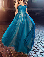 cheap -A-Line Sweetheart Neckline Floor Length Tulle Elegant / Blue Engagement / Prom Dress with Ruched 2020