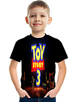 cheap -Kids Boys' Basic Street chic Color Block 3D Print Short Sleeve Tee Black