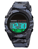 cheap -SKMEI Men's Digital Watch Solar Energy Sporty Stylish Silicone Black / Blue / Green 50 m Military Alarm Chronograph Digital Camouflage Outdoor - Green Blue Black One Year Battery Life