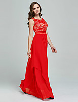 cheap -Sheath / Column Jewel Neck Floor Length Chiffon / Lace Hot / Red Prom / Formal Evening Dress with Pleats / Appliques 2020
