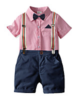 cheap -Toddler Boys' Active Basic Birthday Party Party & Evening Striped Short Sleeve Regular Regular Clothing Set Red
